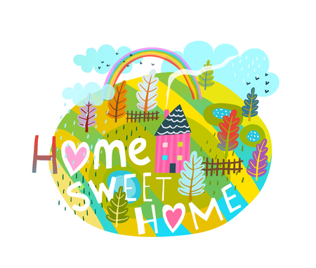 Cartoon quote  lettering home sweet, simple style.  Vector illustration.