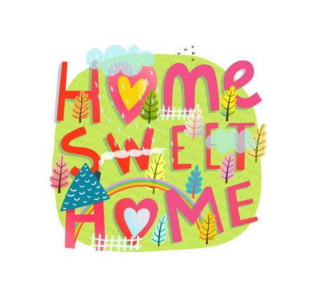 Progettazione del segno del paesaggio della casa e del tubo flessibile e dell'arcobaleno. Illustrazione vettoriale Archivio Fotografico - 92604265