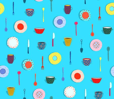 Seamless pattern dishes dinner cartoonish design. Vector illustration. Stock Photo