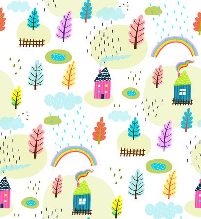 Background primitive design seamless landscape. Vector illustration.