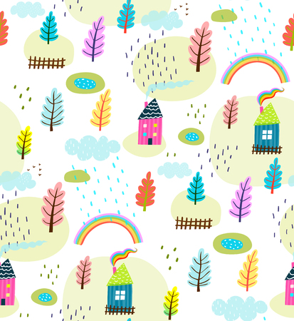 Background primitive design seamless landscape. Vector illustration.