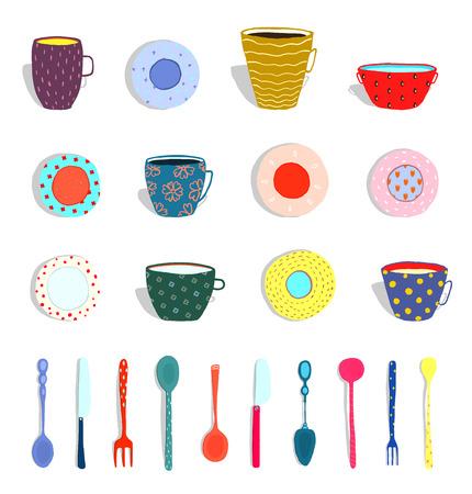 Conjunto de platos coloridos y cubiertos dibujados a mano. Ilustración vectorial Foto de archivo - 92604263