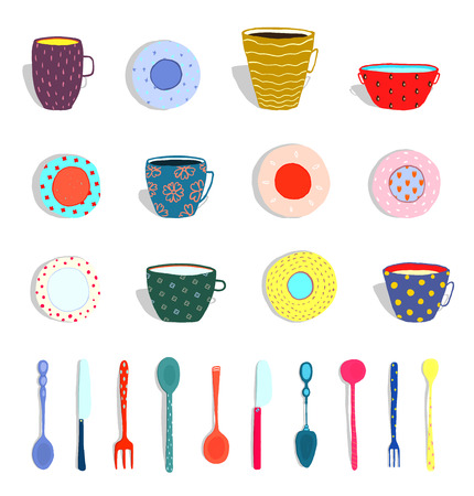 Set of colorful plates and silverware hand drawn. Vector illustration.
