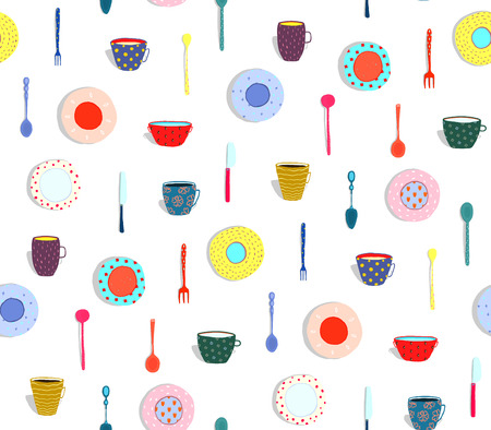 Seamless pattern dishes and eating design. Vector illustration. Stock Photo