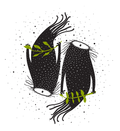 One eye beasts couple imaginary fictional characters. Vector illustration. Banque d'images
