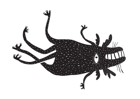 Black and white beast creature. Vector illustration. Фото со стока