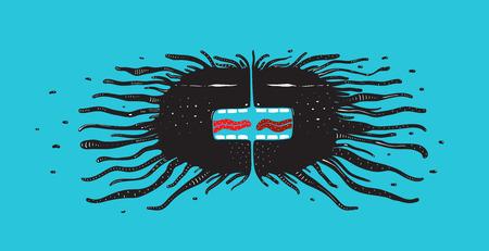 想像上のサイケデリックな水中獣のキャラクター。ベクトルイラスト。