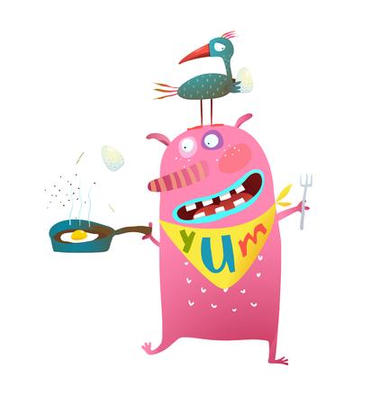 Divertente cartone animato di uccellino ee un mostro della fame. Illustrazione di vettore. Archivio Fotografico - 94603782