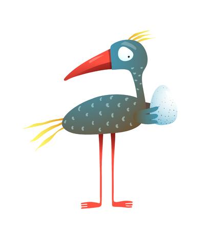 Happy animals parent holding egg. Vector illustration.