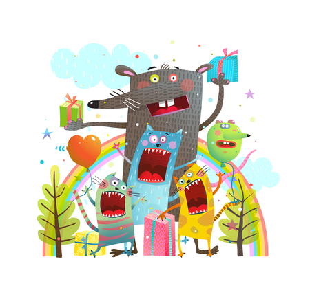 Birthday party outside in nature with animals. Vector illustration.