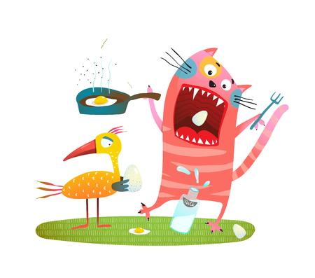 Cat and birdie feeding illustration. Vector illustration.