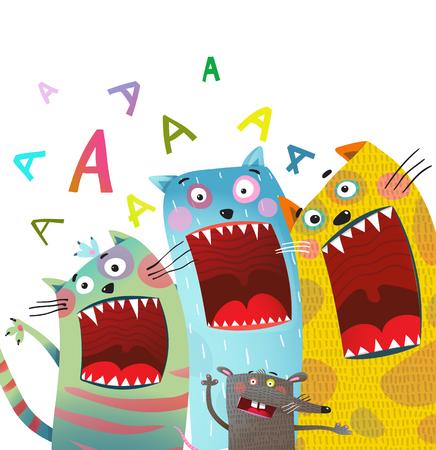 猫とネズミの歌が口を開いて歌う。ベクトルイラスト。