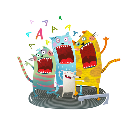 Comic animals screaming singing funny cartoon. Vector illustration.