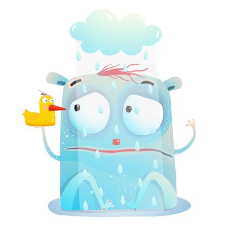 친구 장난감 오리와 함께 빗 속에 앉아 생물. 벡터 만화.
