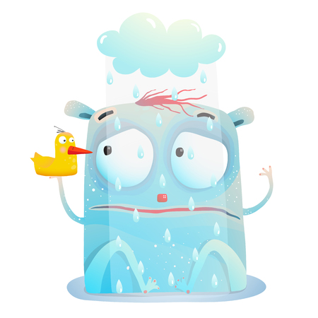 Creature sitting in the rain with friend toy duck. Vector cartoon. Banco de Imagens - 95088329