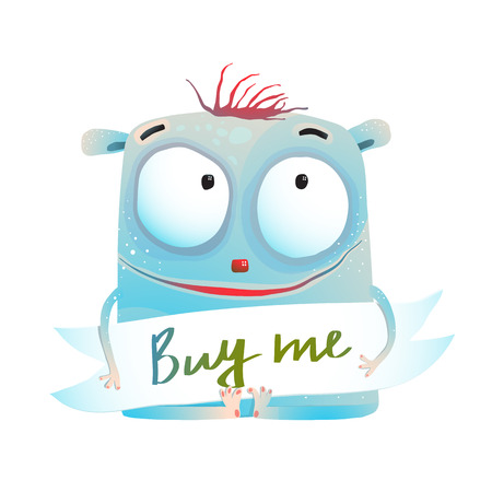 Little cutie pretty holding buy me sign. Vector cartoon.