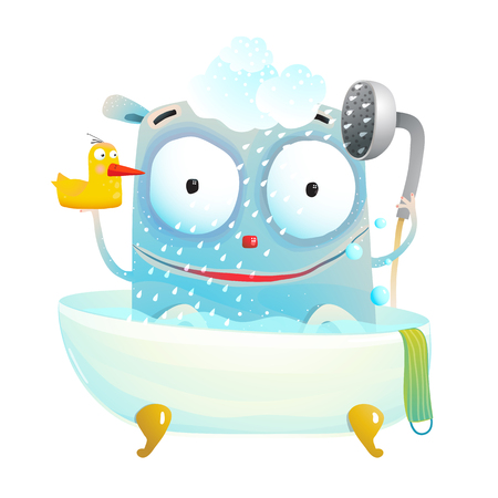 Little cutie having bath with a toy. Vector cartoon. Illustration