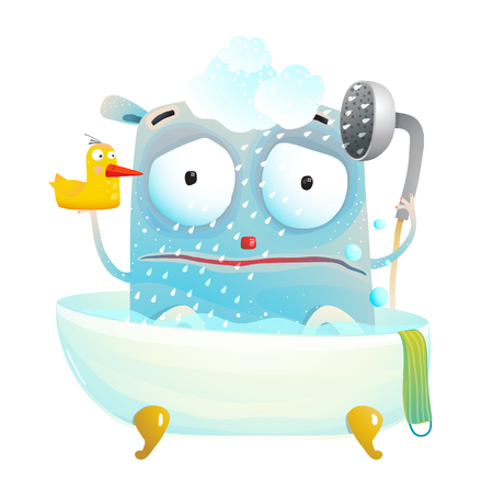 Little creature does not like bathing. Vector cartoon. Stock Photo