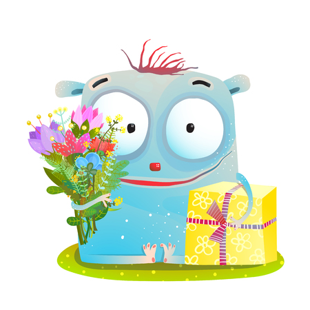 Cute greeting card illustration for kids with fun character. Vector cartoon.