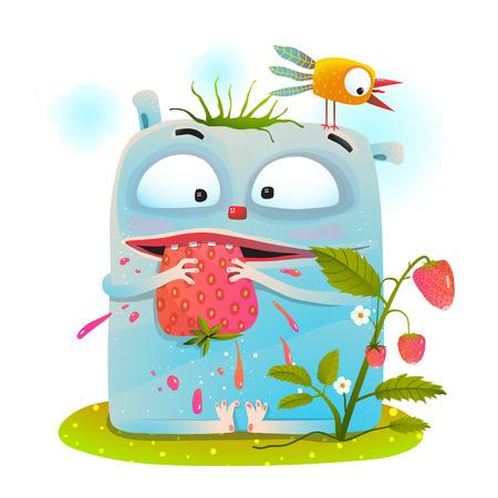 Fun colorful imaginary animal for kids having lunch. Vector cartoon. Stock Illustratie