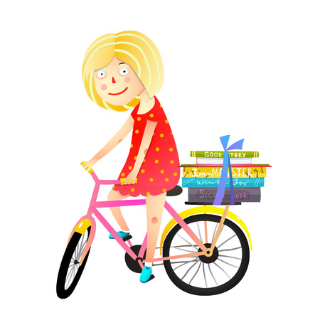 Happy kid riding a bike with stack of books. Vector illustration.