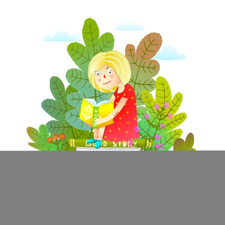 Study or read kids colorful cartoon. Vector illustration. Illustration