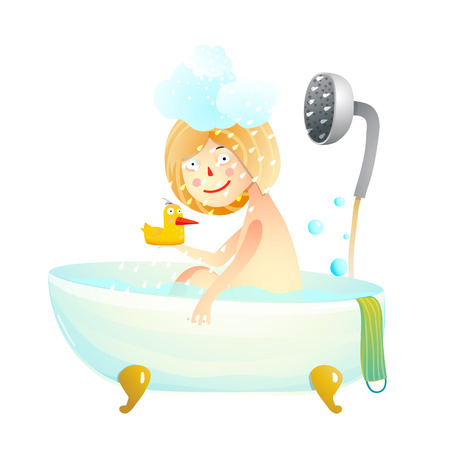 Fun cartoon little Child taking shower with toy. Vector illustration. Vectores