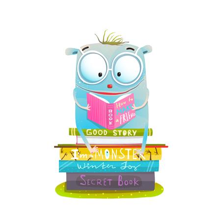 귀염둥이 행복한 괴물을 공부하고 읽으십시오. 벡터 일러스트입니다. 스톡 콘텐츠 - 96111167