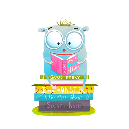 Study and read cutie happy monster. Vector illustration.