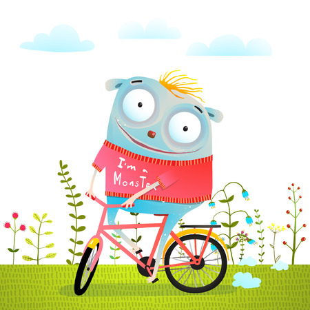 Happiness and bicycle trip of small monsters. Vector illustration. Stock Photo
