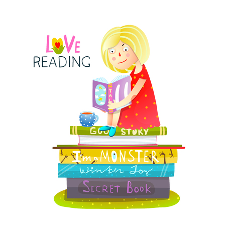Studying little cute girl student. Vector illustration.