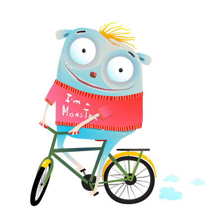 Funny cartoon of kids monster and bicycle. Vector illustration.
