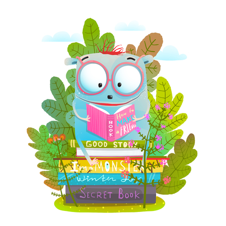 Smart little animal studying in the nature. Vector illustration. 版權商用圖片