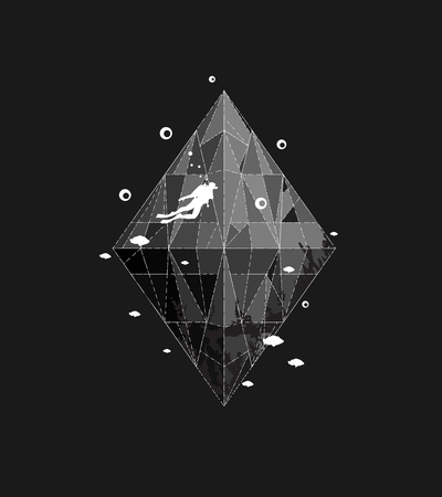 Black and white design for underwater sport. Vector illustration.