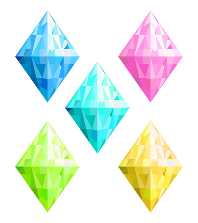 Set of differend colors transparent crystals clipart. Vector illustration
