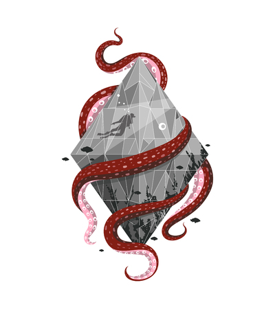 Recreation and underwater activities label emblem design. Vector illustration. Stock Photo