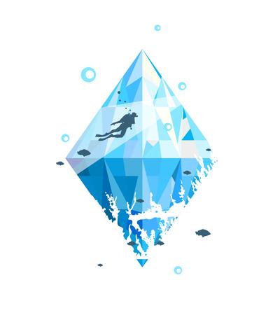 Dive underwater sport printing design. Vector illustration. Reklamní fotografie - 96896536