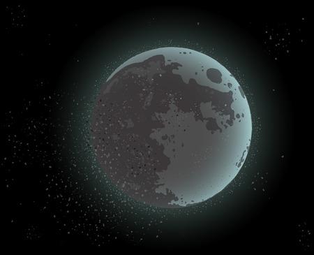 月明かりと星空空間の宇宙デザイン。ベクターの図。