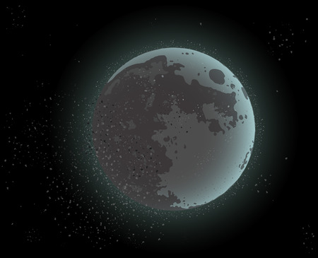 Cosmic design of moonlight and starry space. Vector illustration.