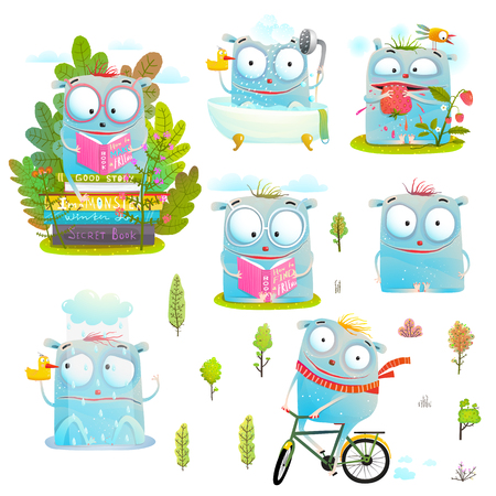 Reading cycling studying eating little monsters clip art. Vector illustration.