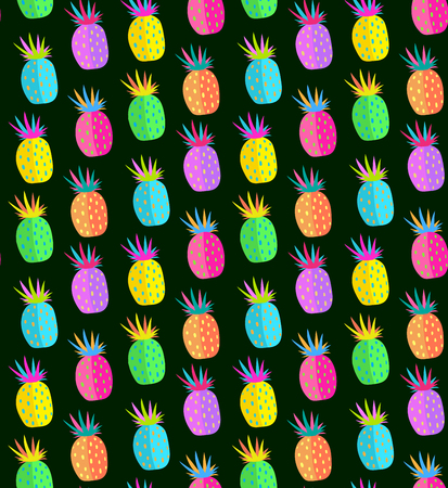 Fun design of colorful pineapple fruits, summertime print. Vector illustration.