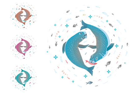 T-shirt design of two seals or sea dogs coloring variants. Vector illustration.