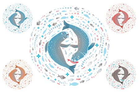 Marine life t-shirt design with sea calfs set. Vector illustration. Stock Photo