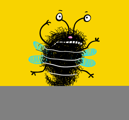 Friendly funny insect bee flying. Vector illustration.