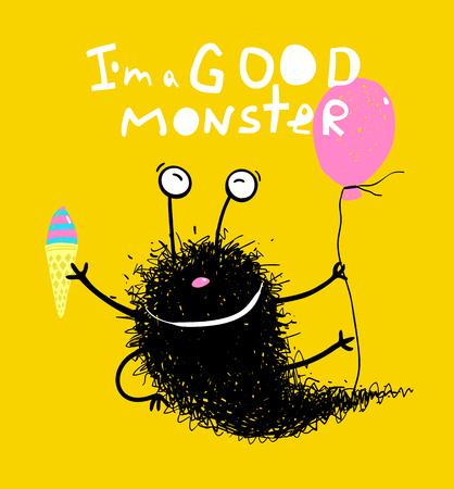 Funny black cartoon creature greeting card design. Vector illustration.