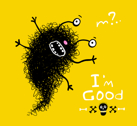 Fluffy good scary doodle character greeting card design. Vector cartoon.