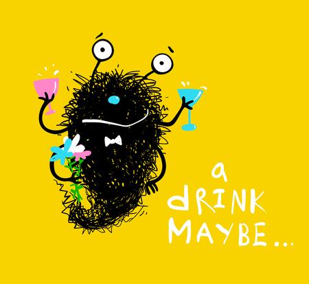 Fun imaginary black monster cartoon invitation card. Vector illustration.