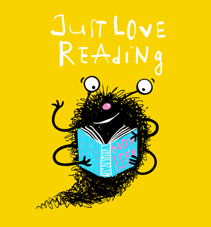 Happy imaginary personage love reading. Vector educational cartoon.