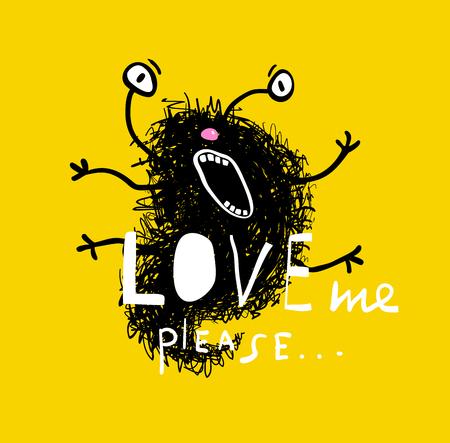 Fun cartoon doodle character in crazy love. Vector illustration.
