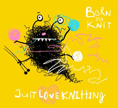 Cute knitting woolen balls moster hobby design. Vector cartoon. Stok Fotoğraf